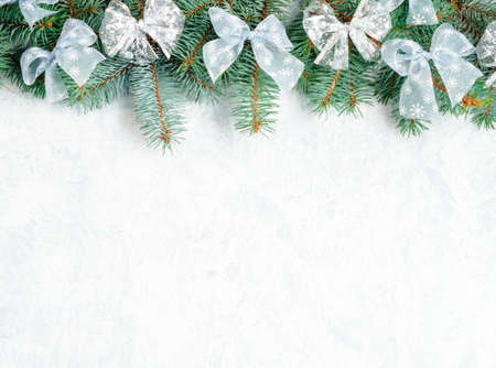 Christmas Border tree branches with golden decor isolated on white, horizontal banner Stock fotó - 133832263