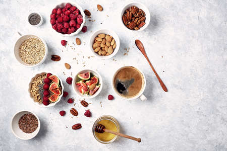 oatmeal with raspberries, figs, chia seeds and nuts Stock fotó