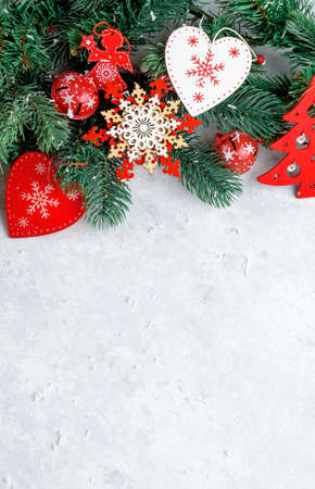 Christmas background, branch, red heart place for text Stock fotó