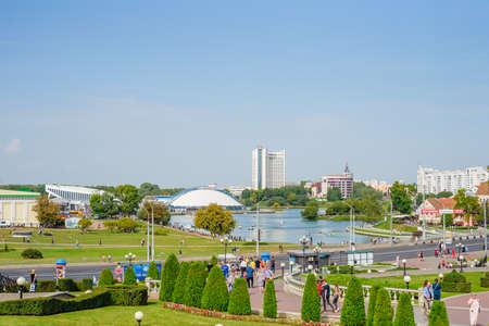 Minsk, City Day, festivities, view of Starotroitskaya Square, the Svisloch River, and the city center
