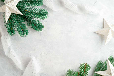 christmas background, christmas tree branches, white and blue Stock fotó