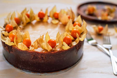 freshly baked, whole New York cheesecake garnished with physalis Stock fotó