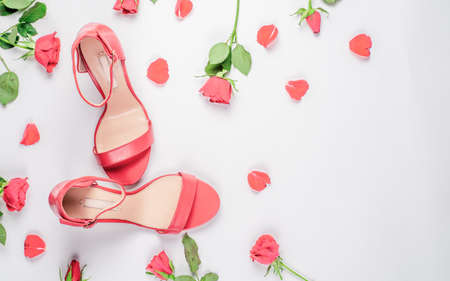coral woman shoes on white background Flat lay, top view trendy fashion feminine background. Stock fotó