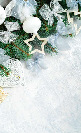 Christmas background frame in silver tones, with Christmas decorations