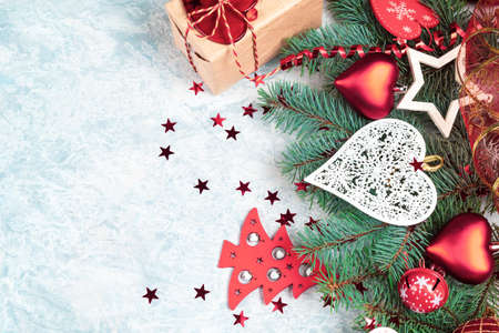 Christmas background border red, Christmas decorations, place for text
