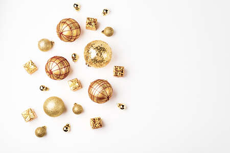 christmas golden background, christmas decoration, cones balls glitter