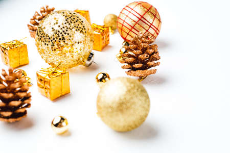 Full pack of opaque silver and golden christmas balls