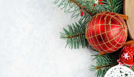 Red Christmas ornament with pine leaves