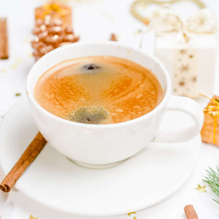 Coffee on christmas table with christmas decorations Stock fotó