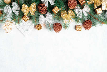 Christmas  golden cones, Christmas decorations, balls, bows, place for text