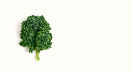 leaf of healthy kale salad on a white background, superfood Stock fotó