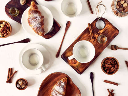 European breakfast, top view, coffee, croissants honey good morning concept Stock fotó