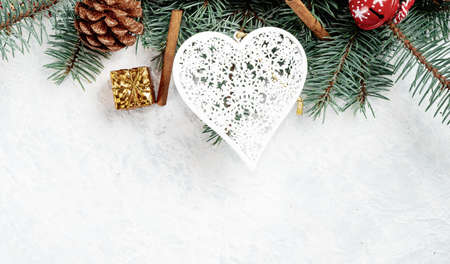 Christmas toy heart on a white background, Christmas background