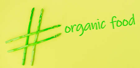 conceptual idea organic, hashtag made of asparagus, healthy food, green food. Stok Fotoğraf