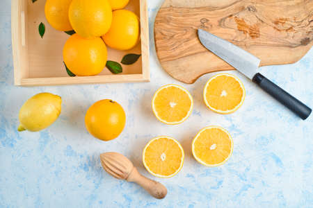 top view of the process of making fresh orange juice,
