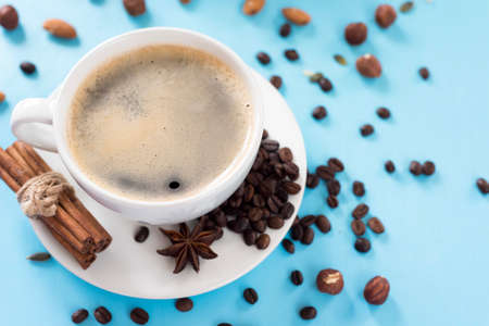 aromatic coffee in a white cup, with cinnamon and anise Reklamní fotografie