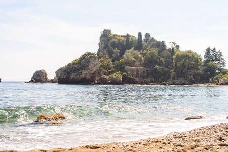 Isola bella, a small island near Taormina, Sicily 写真素材