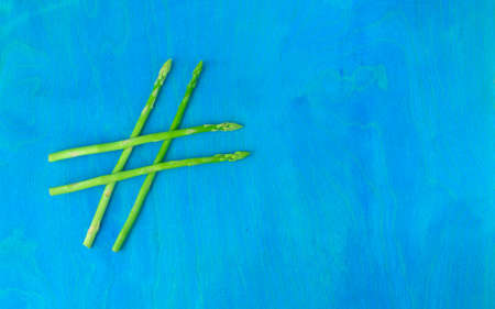 hashtag made of asparagus, healthy food, green food, hashtag health.