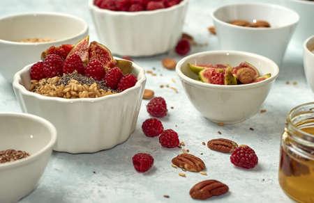 Steel cut oatmeal porridge with raspberry for breakfast
