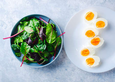 green salad with egg in a blue bowl on a blue background 版權商用圖片