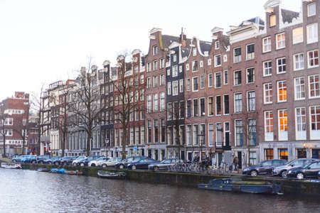 Colorful houses and architecture of Amsterdam, the Netherlands landscape.