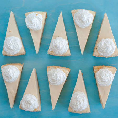 cheesecake pattern, servings of cheesecake on a blue background