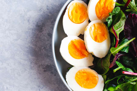 salad with arugula, spinach, tomatoes and eggs tinting Stockfoto