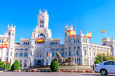 city hall, fountain of Cibeles In Madrid, Spain