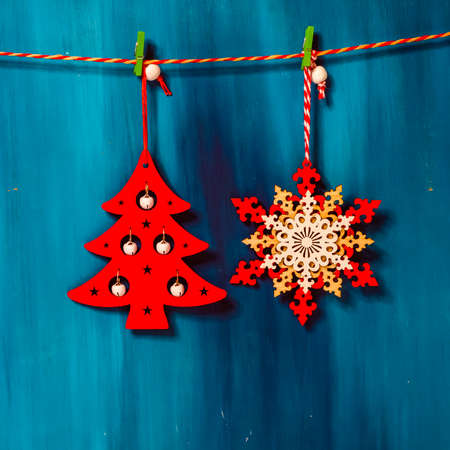 Decor Christmas tree on blue colorful background