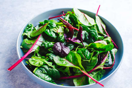 mixed fresh salad leaves in a blue bowl top view