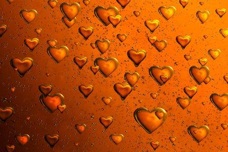 tridimensional: Orange Floating Bubble Hearts