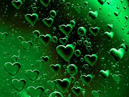 bubble acid: Green Floating Bubble Hearts