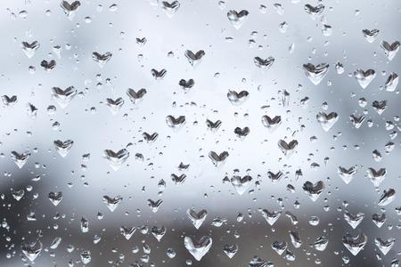 rn3d: Heart shaped rain drops on the window