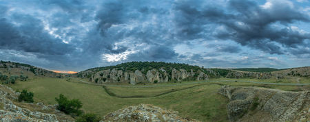 Panorama of a cloudy morning in Cheile Dobrogei, Romania