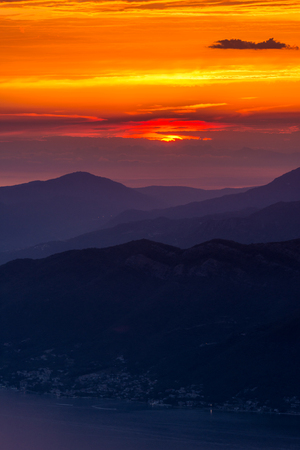 kotor: Beautiful sunset in the Bay of Kotor, Montenegro