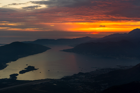 Beautiful sunset in the Bay of Kotor, Montenegro