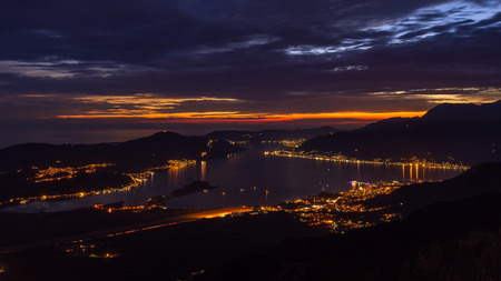 kotor: City lights at the blue hour in the Bay of Kotor, Montenegro