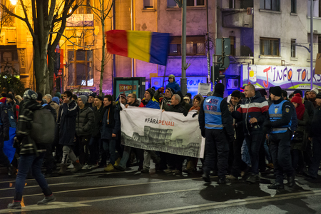 minister: People protesting in Bucharest against the government, 29-1-2017, Romania