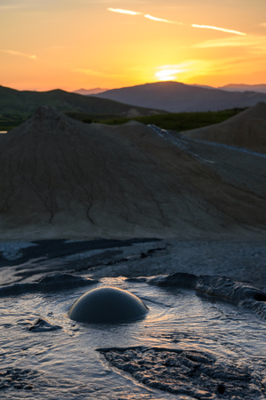 Muddy Volcanoes, Buzau,Romania Stock Photo
