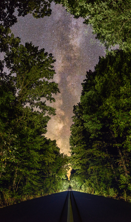 Milky Way over a road in the forest