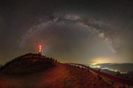 Milky Way over Cozia mountains in Romania