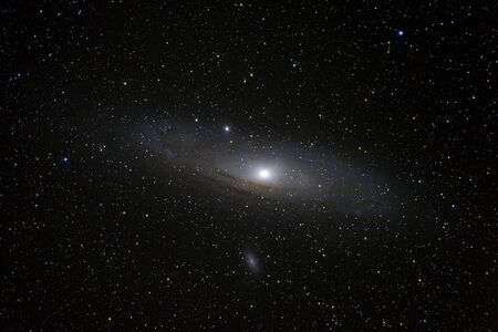 Andromeda Galaxy Messier 31 and Messier 32 taken from Romania Stock Photo