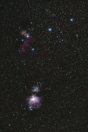 Orion nebula M42, Horse head nebula and Flame nebula taken from Romania