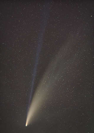 Comet C/2020 F3 NEOWISE with the two tails in detail Stock Photo