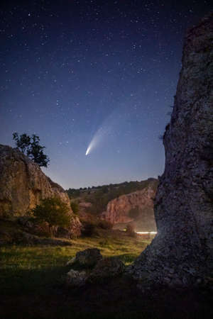 Comet C/2020 F3 NEOWISE over Dobrogea region from Romania Stock Photo