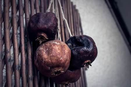 rotten fruits hanging on the wall Stock Photo