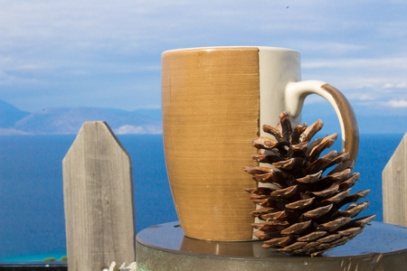 drinking coffee at the morning outside with a pine next to me and the sunny cloudy skhy above and the ocean