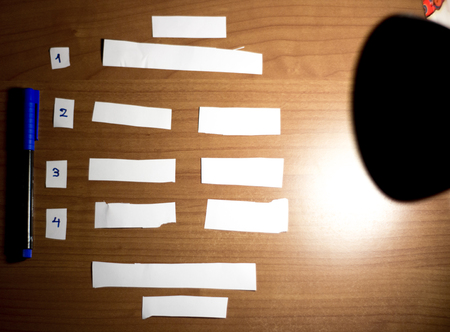 notebook: cut empty blank papers on a desk with numbers on the side,to do list planner Stock Photo