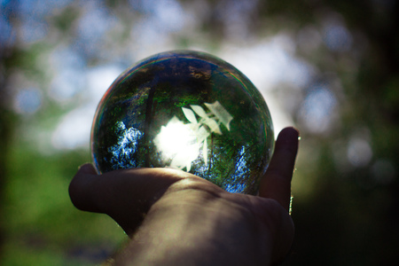 hand holding crystal ball with yellow trees and the sun on the background autumn scenery