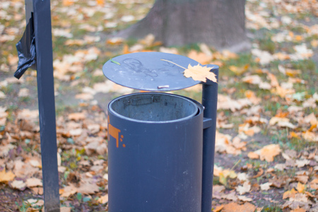 trash can on a park autumn scenery bin recycle scenic Stock Photo